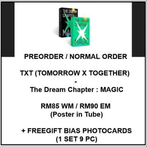 TXT TOMORROW X TOGETHER - The Dream Chapter : MAGIC - PREORDER/NORMAL ORDER/GROUP ORDER/GO + FREE GIFT BIAS PHOTOCARDS (1 ALBUM GET 1 SET PC, 1 SET GET 9 PC)