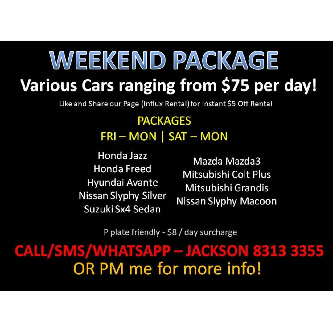 CAR RENTAL WEEKEND PACKAGE *P PLATE FRIENDLY*