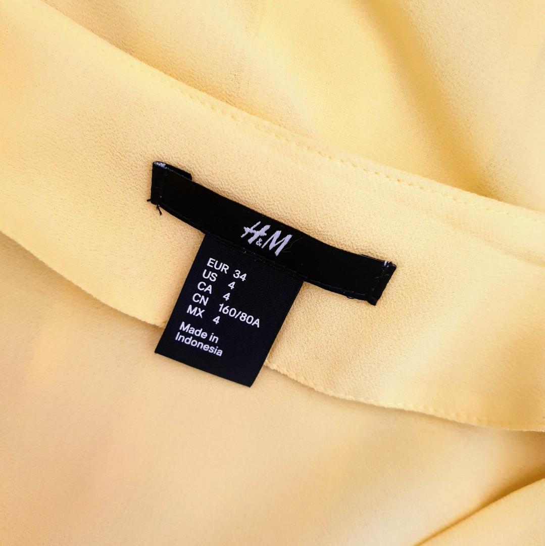 Women's size 8 'H&M' Gorgeous yellow button down blouse - AS NEW