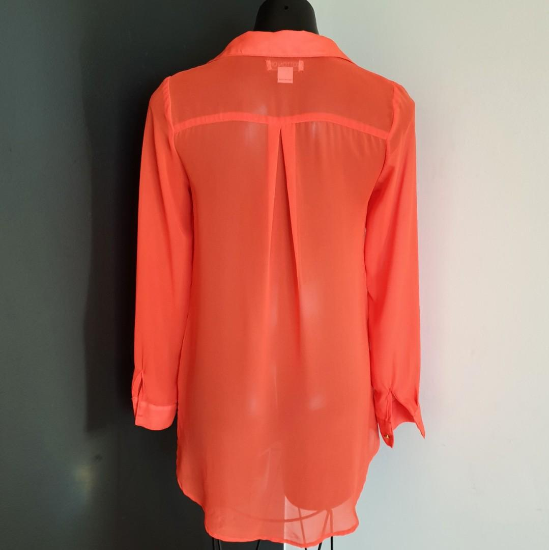 Women's size XS 'COTTON ON' Gorgeous orange button down tunic shirt - AS NEW
