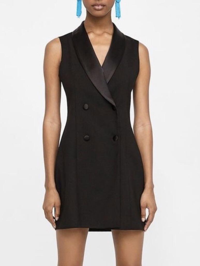Zara sleeveless black tuxedo blazer dress - Zara basic collection - size XS