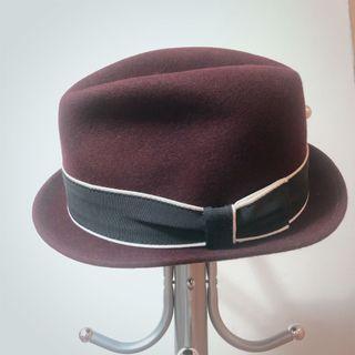 New York hat 酒紅色 短帽簷 紳士帽 硬挺 L