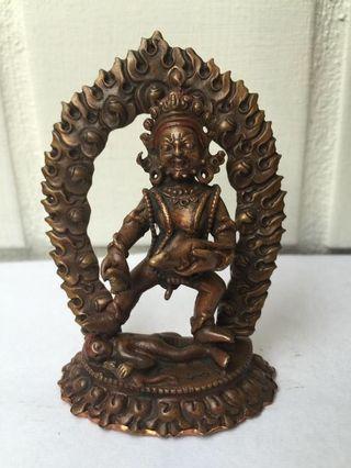 藏密黑財神紅銅佛像
