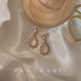 復古優雅宮廷水滴鑽型耳環 耳針