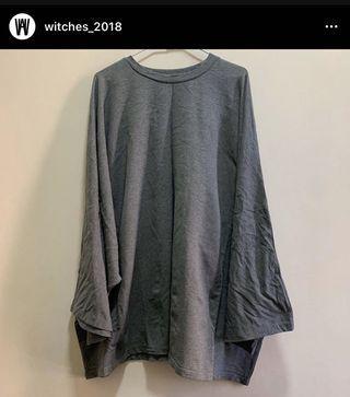 灰色棉質傘狀長版T