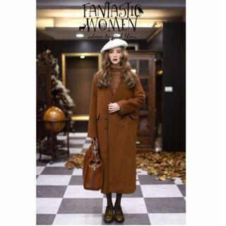 (便宜賣)橘咖v領雙排扣羊毛長大衣/從前從前/茂谷太太/羊毛無領大衣/80%羊毛/M號