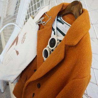 復古雙排釦毛呢休閒外套 薑黃