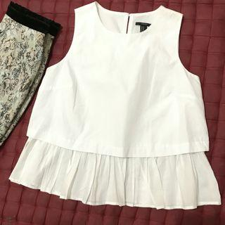 Forever21 white sleeveless top import / atasan blouse f21 korean look murah