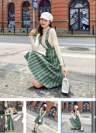 女2019新款格紋背帶+裙子純色打底針織衫S~XL