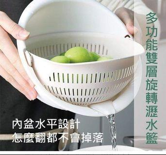 小麥梗多功能雙層旋轉瀝水籃 顏色隨機出貨