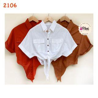 Kemeja crop top ikat / blouse wrap / button pocket / vintage top kerah / 2106