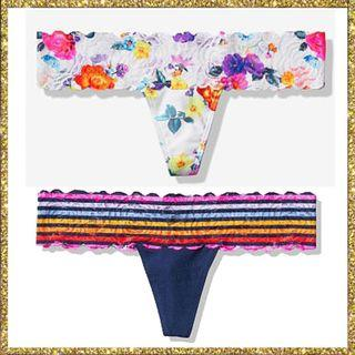 【XS.S號】Victoria's Secret 維多利亞的秘密 柔軟蕾絲腰身丁字褲 歐美性感內褲