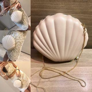全新🐚海島必備超可愛美人魚貝殼鏈包珍珠貝殼造型鏈條包鍊包斜背包肩背包晚宴包大貝殼包米白色