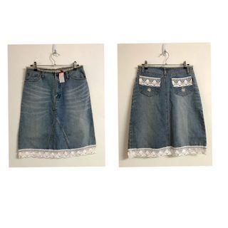 韓製 Reas復古針織邊拼接牛仔裙 腰邊刷毛及膝裙 超顯瘦短裙 氣質A字裙