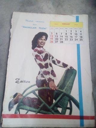 Calendar Majalah Filem Feb 1961 Zaiton &  BAT A. LATIFF