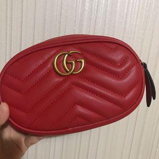 GUCCI GG MARMONT 2手 紅色 腰包