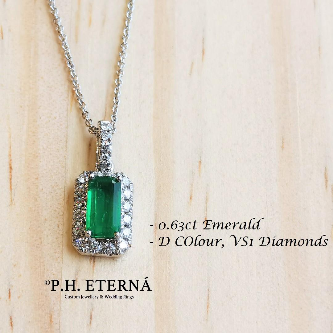 全新18K白金0.63卡祖母綠寶石配15份真鑽石吊咀 | 哥倫比亞祖母綠寶石
