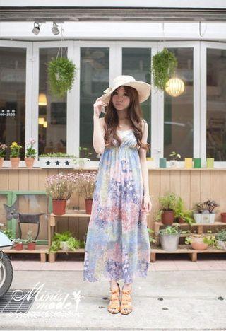 韓 櫻花渲染V領胸口蕾絲綁帶雪紡長洋裝