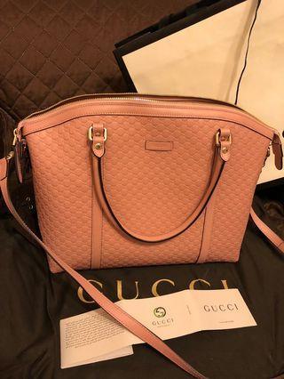 Gucci 粉紅色牛皮兩用包