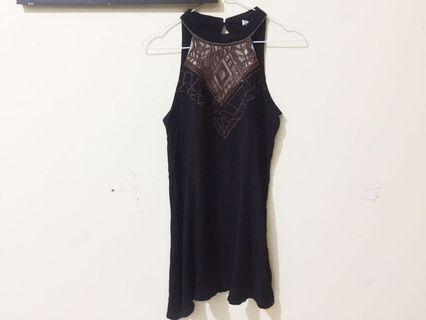Black turtleneck swing Dress
