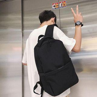 全新現貨日系簡約素色雙肩包街潮後背包學生書包電腦包
