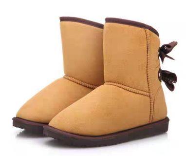 💰Sale🎌 JP 日本品牌 日系 黃色 中筒 蝴蝶結設計 雪靴