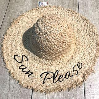 刺繡字母 Sun Please 草帽