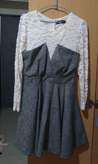 秋天白色格子洋裝