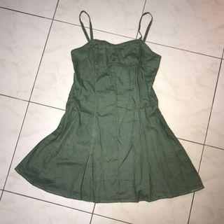 墨綠 細肩帶連身裙