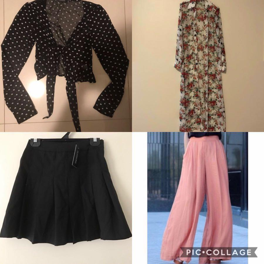 4 for $40! Tennis skirt, blouse, chiffon cardigan and pants