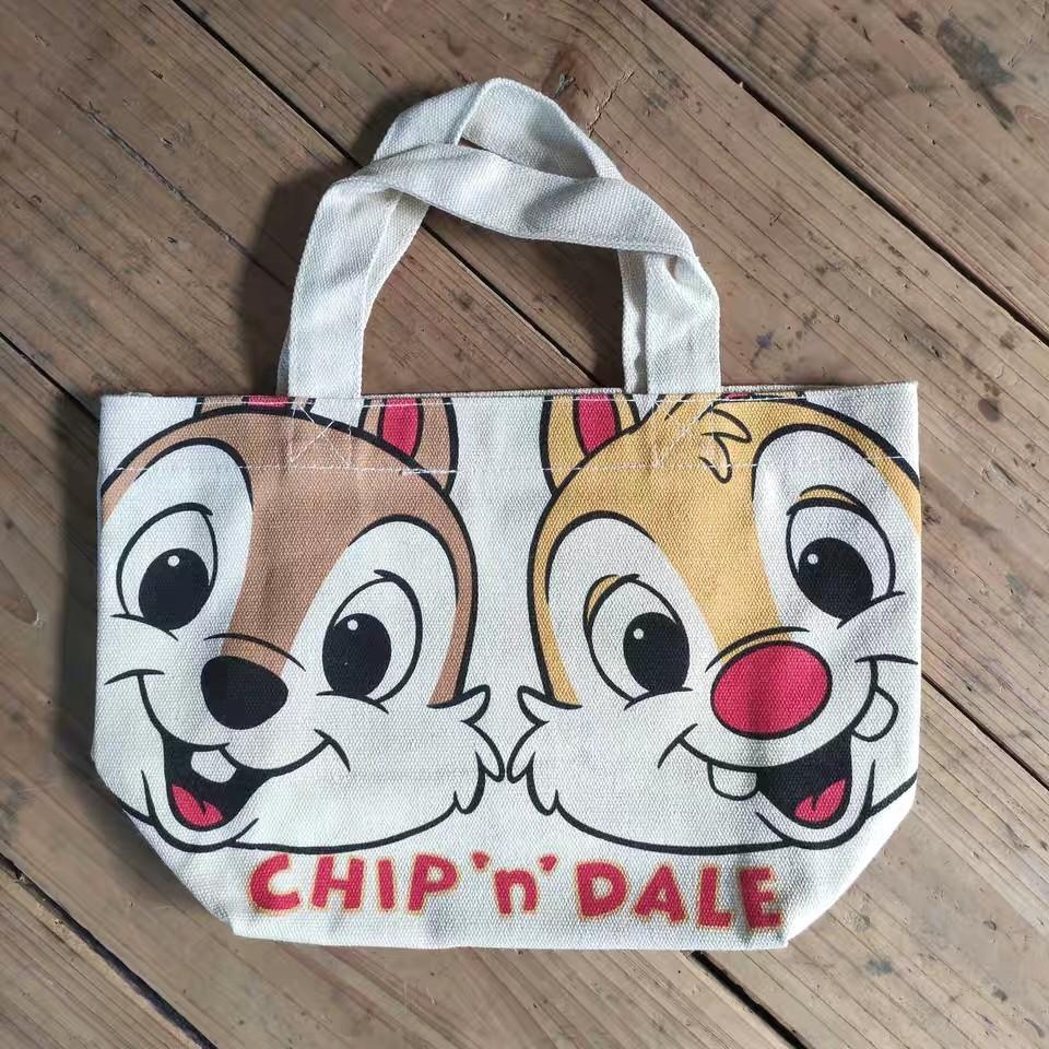 日本迪士尼帆布袋松鼠兄弟帆布袋奇奇蒂蒂小拎包飯盒便當包環保袋
