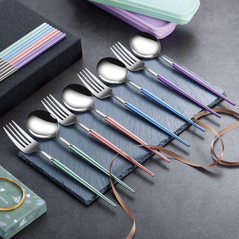葡萄牙便攜餐具組 環保餐具 三件套裝 304不鏽鋼筷子湯匙叉子 環保餐具套裝