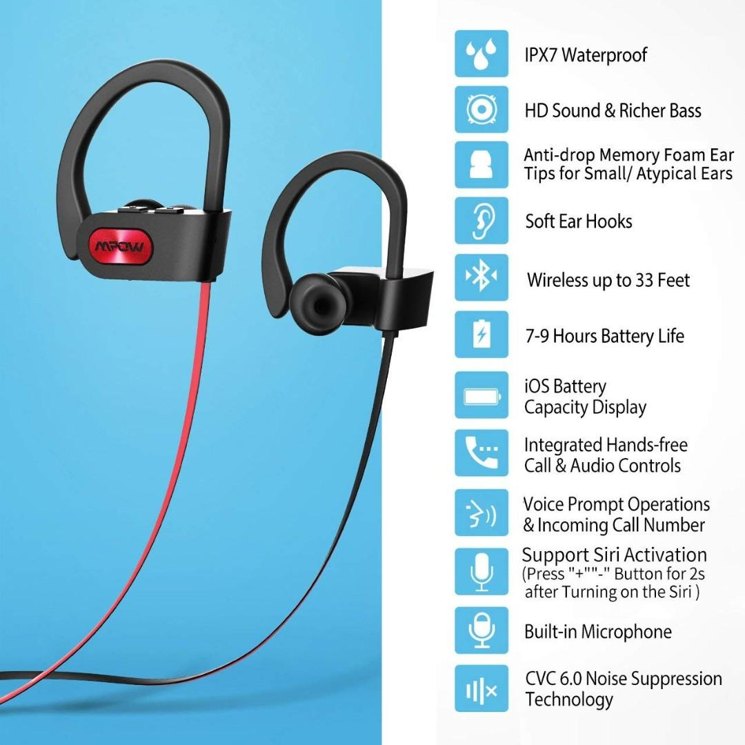 A405 Mpow Flame Bluetooth Headphones Sport IPX7 Waterproof Wireless Sport Earbuds, Richer Bass HiFi Stereo In-Ear Earphones, 7-9 Hrs Playback, Running Headphones W/CVC6.0 Noise Cancelling Mic, Red