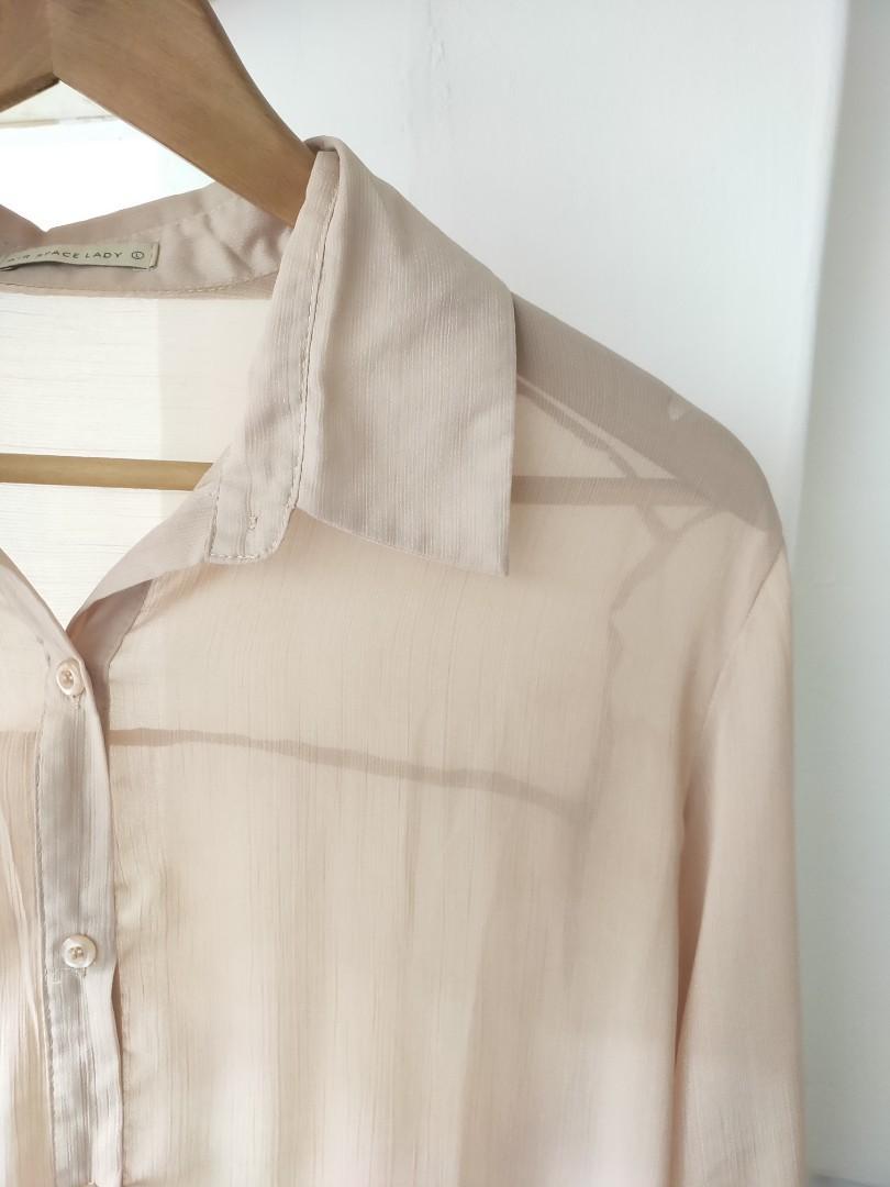 Airspace杏色薄紗襯衫/長版上衣/外套/卡其
