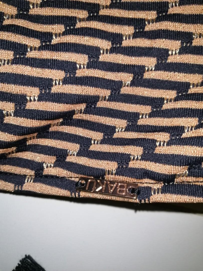 Baku Swimsuit Bikini Bronze Black Patterned Tie Up Adjustable SM