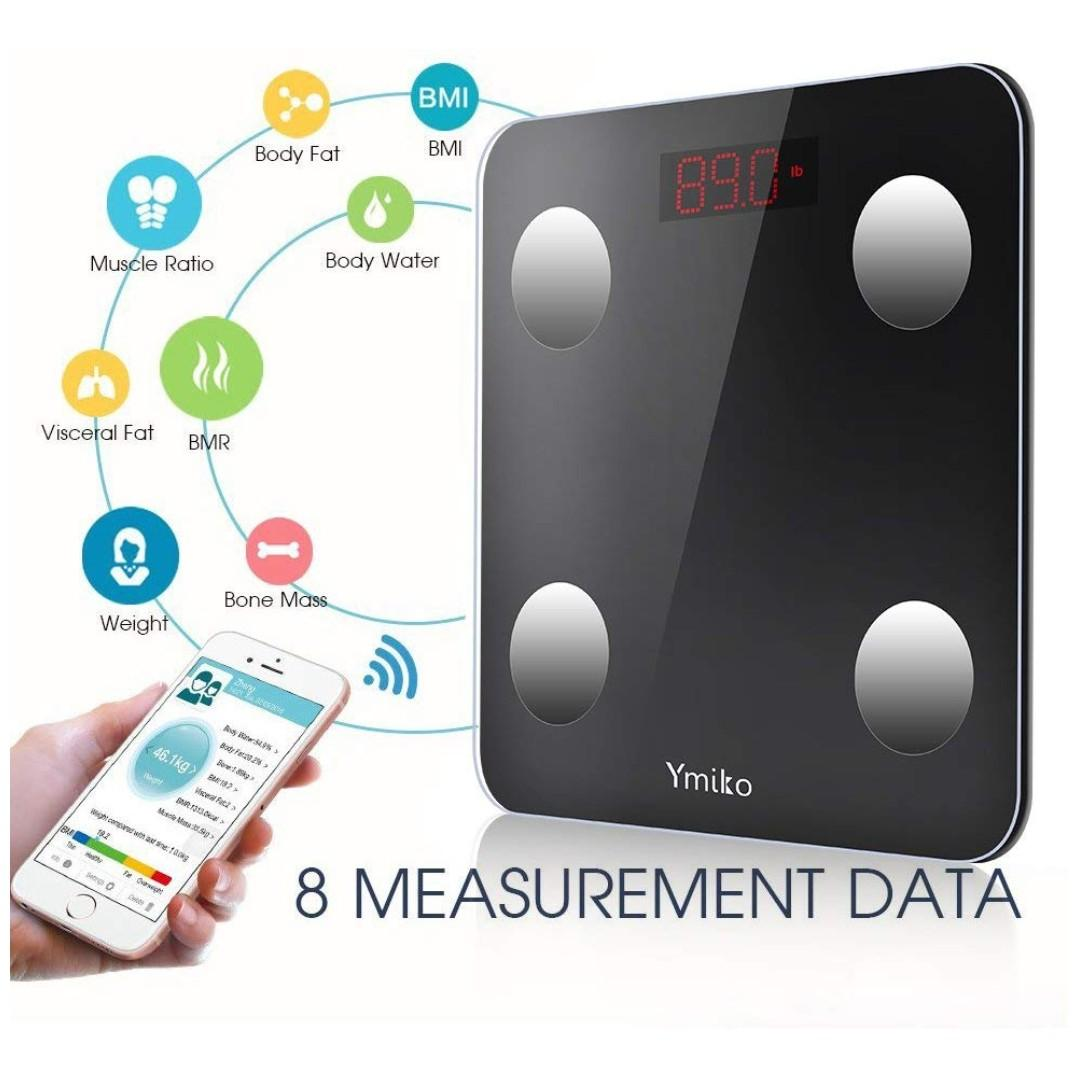 Body Fat Scale Ymiko Bluetooth Bathroom Scale Smart Body Weight Scale For 8 Body Composition Analyser