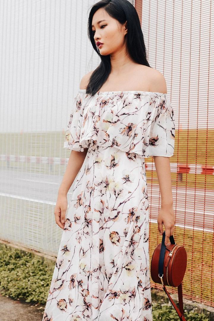 Caris off shoulder floral Maxi