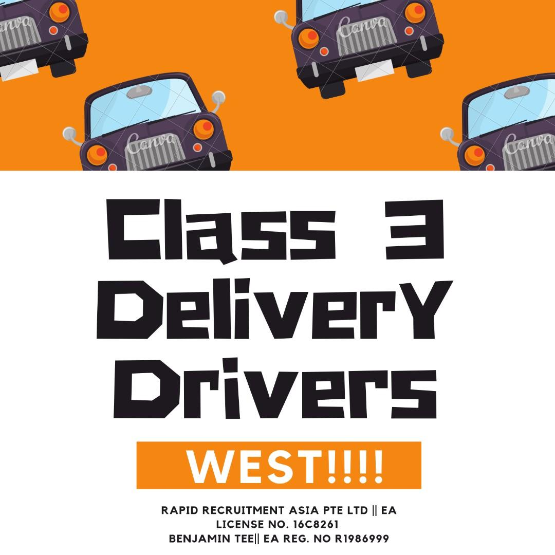 Class 3 Delivery Driver @ Boon Lay !!! Up to $2000 !!