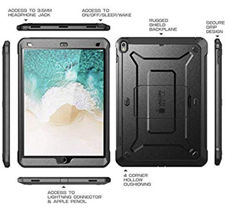 D385) SUPCASE [Unicorn Beetle PRO] Case for iPad Air 3 (2019) and iPad Pro 10.5'' (2017), Heavy Duty with Built-in Screen Protector Full-body Rugged Protective Case (Black)