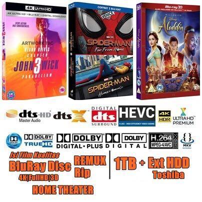 Hardisk Toshiba 1TB isi Film HD 4K FullHD kualitas Bluray Disc REMUX, Rip utk HOME THEATER