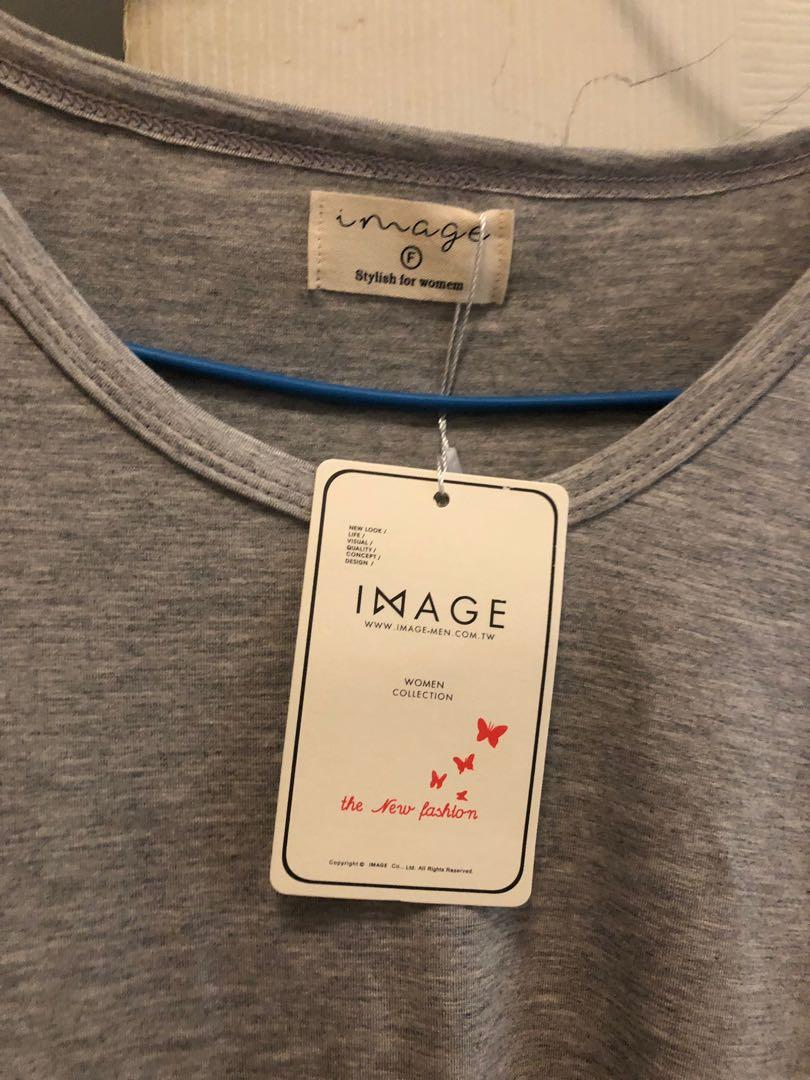 Image彈性灰色短t