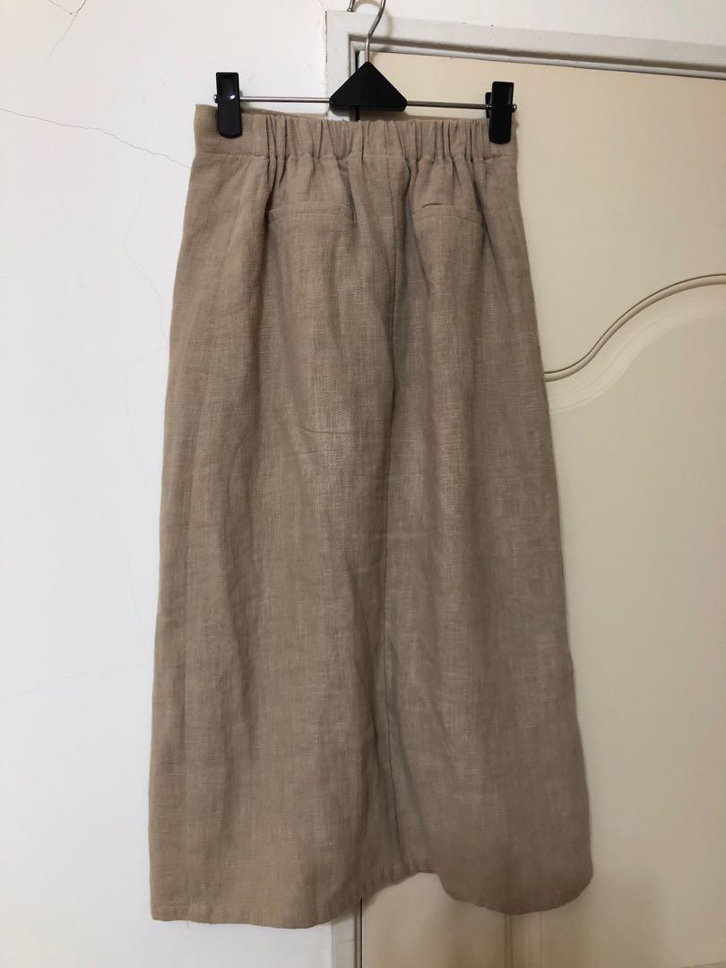 Mercci22 棉麻前開叉杏色裙