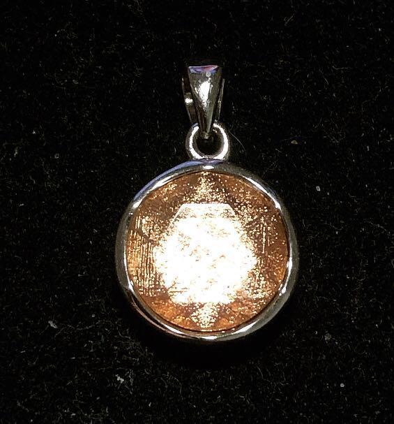 Meteorite 925 Rose Gold Star of David ✡️ Pendant 12mm - Loket Batu Besi Bintang Angkasa