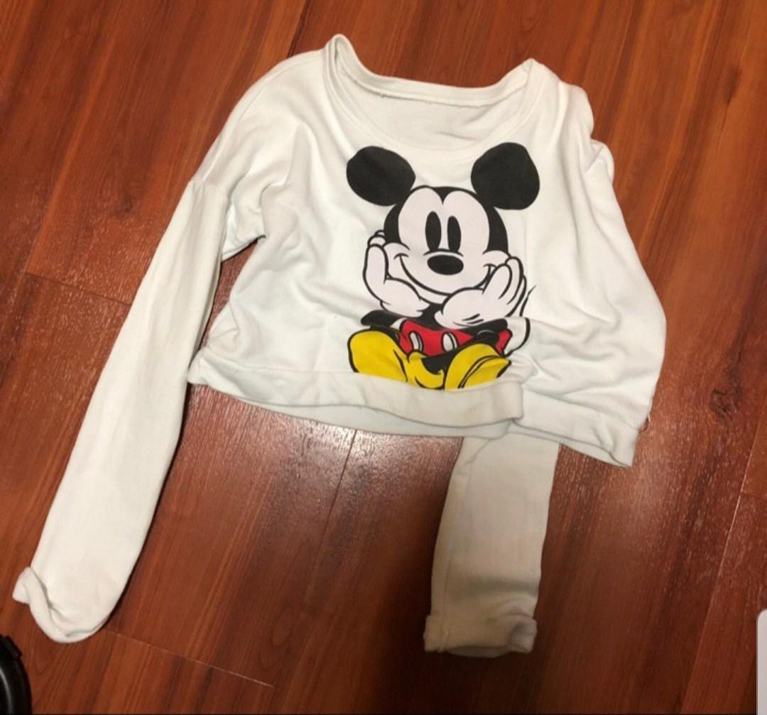 mickey mouse cropped pullover