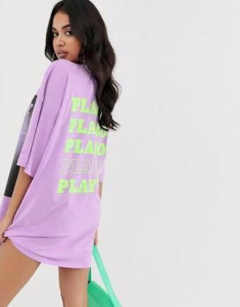 Missguided playboy t-shirt dress with magazine print - purple (size 4)