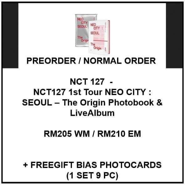 NCT 127  - NCT127 1st Tour NEO CITY : SEOUL – The Origin Photobook & LiveAlbum - PREORDER/NORMAL ORDER/GROUP ORDER/GO + FREE GIFT BIAS PHOTOCARDS (1 ALBUM GET 1 SET PC, 1 SET GET 9 PC)