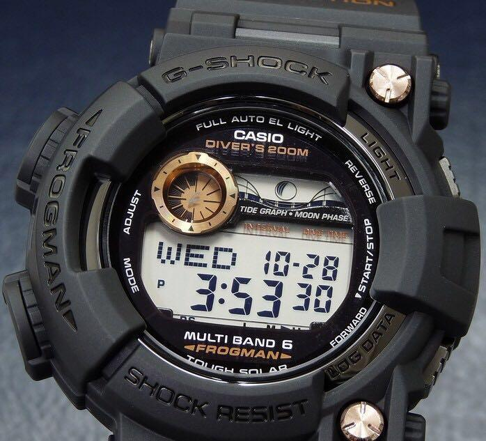 New Authentic Japan JDM edition Limited Edition and very rare Casio Black Rose Gold Frogman GWF-1000B-1JR Watch