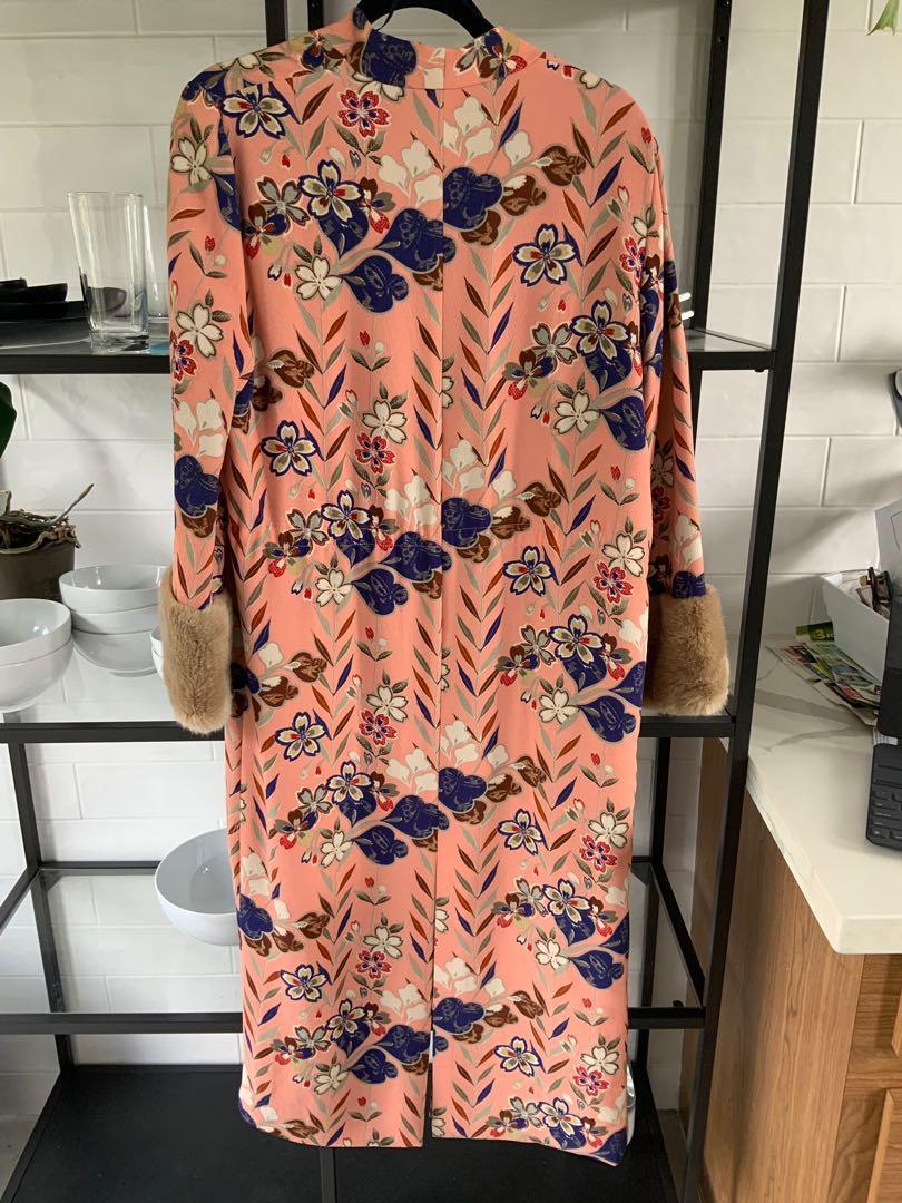 New Zara Kimono With Faux Fur Outerwear. Size S-M.