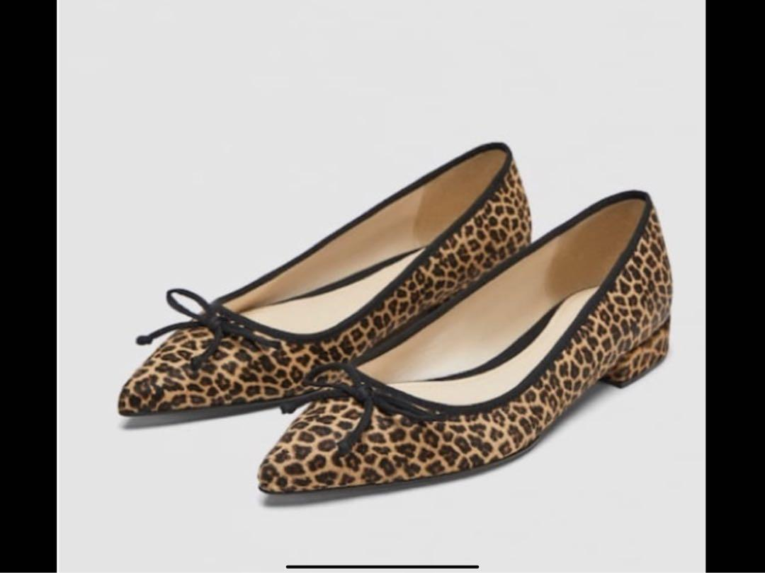 New Zara Leather Leopard Printed Leather Ballet Flats.