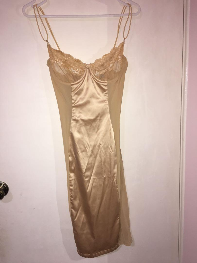 Oh Polly - Sheer For You Underwired Satin Midi Dress in Gold (size 10)
